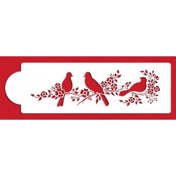 Designer Stencils Love Birds Cake Side