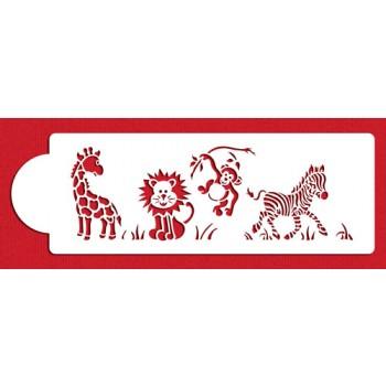 Designer Stencils Jungle Animals Cake Side