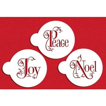 Designer Stencils Joy, Noel and Peace Cookie Set