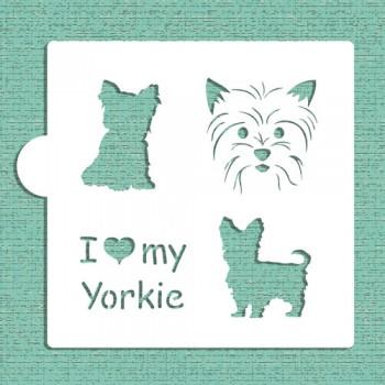 Designer Stencils I love my Yorkie Cookie and Craft Stencil
