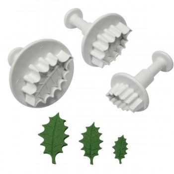 PME Veined Holly Leaf Plunger cutter set