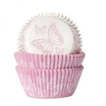 House of Marie Baking cups Vlinder Roze/Wit