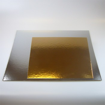 Taartkarton goud/zilver vierkant 30cm - 3st