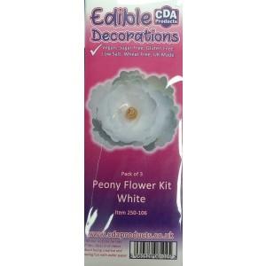 CDA Wafer Paper Flowers: Pre-cut Peony White