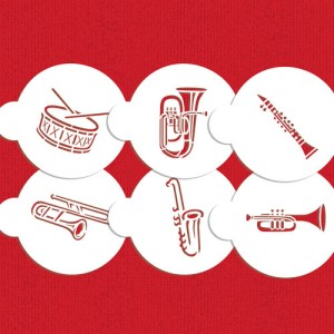 Designer Stencils French Marching Band Instruments Cookie Stencil