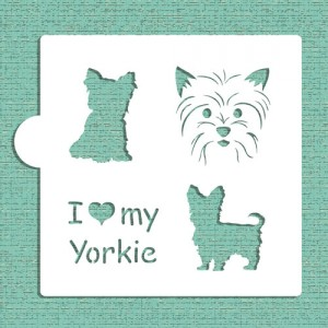 Designer Stencils I love my Yorkie Cookie and Craft Stencil
