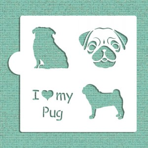 Designer Stencils I love my Pug Cookie and Craft Stencil