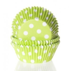 House of Marie Baking Cups Stip Lime Groen