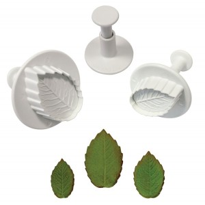 PME Veined Rose Leaf Plunger cutter set