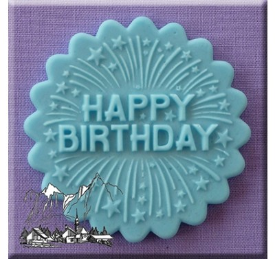 Alphabet Moulds - Cupcake Topper Happy Birthday with fireworks