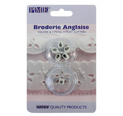 PME Broderie Anglaise Square & 5 Petal Eyelet cutters set/2