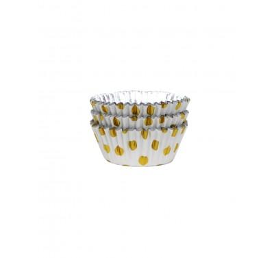 PME Cupcake Cases Foil Lined - Gold Foil Polka Dots Pk/30