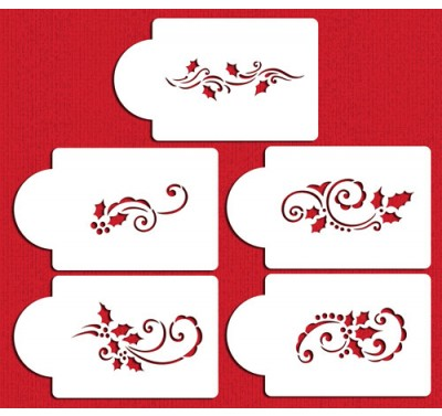 Designer Stencils Holly and Berry Swirls