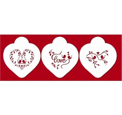 Designer Stencils Love Birds Heart Set