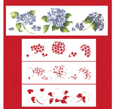 Designer Stencils Multi-layer Painted Hydrangeas Cake Stencil