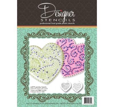 Designer Stencils Paisley and Circles Heart Stencil Set