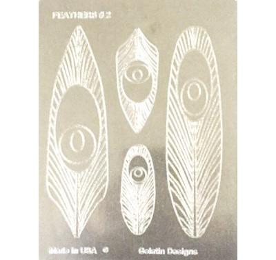 Gelatin Veining Sheet Feather Assortment 2 - Peacock
