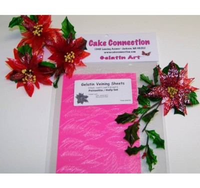 Gelatin Veining Sheets Poinsettia/Holly Set