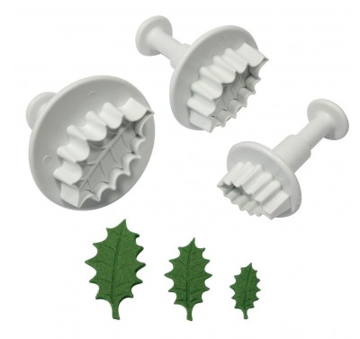 PME Veined Holly Leaf Plunger cutter set
