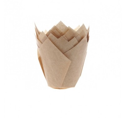 House of Marie Baking cups Tulp Kraft (ongebleekt)  pk/36