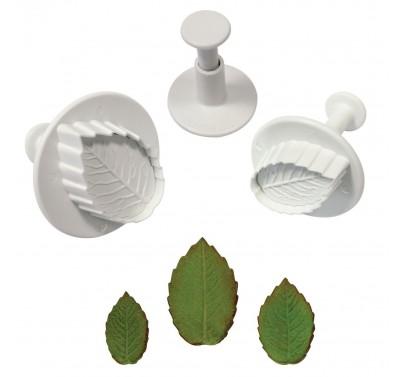PME Veined Rose Leaf Plunger cutter set