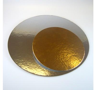 Taartkarton rond goud/zilver 20cm - 5st