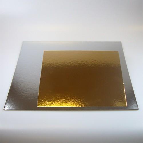 Taartkarton goud/zilver vierkant 26cm - 3st
