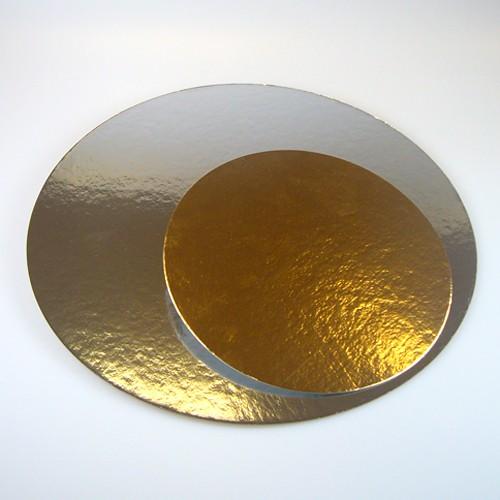Taartkarton rond goud/zilver 24cm - 10st